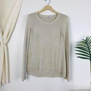 Madewell Tan Scoop Neck Riverside Texture Sweater